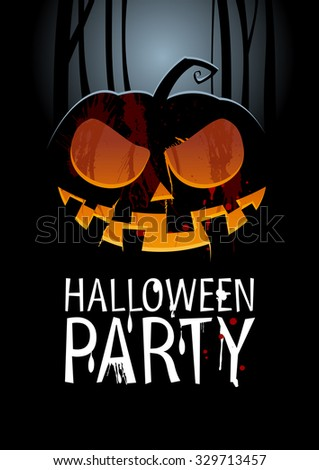 Halloween Party Design template with pumpkin, rasterized version.