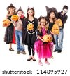 Halloween party with group children holding carving pumpkin. Isolated. - stock photo