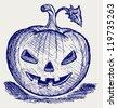 Halloween pumpkin. Doodle style. Raster version - stock vector