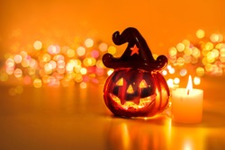 halloween pumpkin with candlelight and bokeh background - Free Halloween Pictures