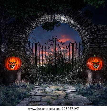 Halloween Scene Fantasy Hut Pumpkins Moon Stock Illustration ...