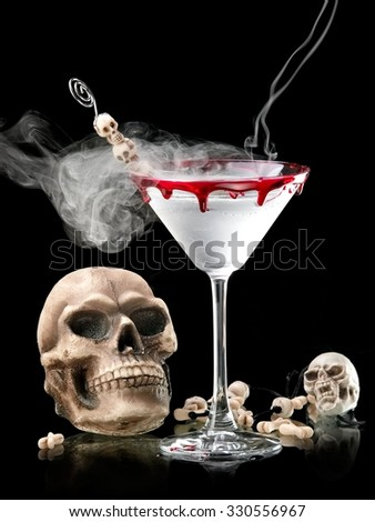 Halloween skull martini with smoke