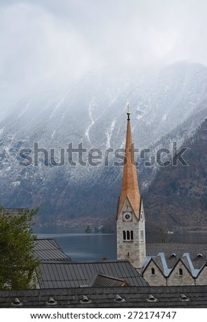 Hallstatt village in Alps, Austria. The tower of the old church