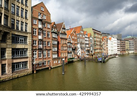 Hamburg, Germany - 25 August 2015: historic timber-framed houses at Nikolaifleet, Altstadt district. The Nikolaifleet is one of the oldest parts of the port of Hamburg.