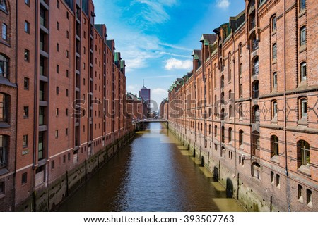 Hamburg, Germany - Speicherstadt. Famous old harbor warehouses.