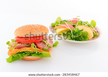 Hamburger and salad