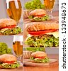 Hamburger collage - stock photo