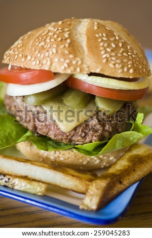 Hamburger with a big, heavy, man-size beef patty, lettuce, cheese, pickle, onion, tomato and served with large chunky chips/fries.