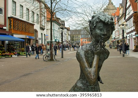 HAMELIN, GERMANY - MARCH 07, 2009: city view of Hamelin, a town in Lower Saxony