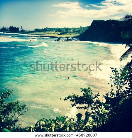Hamoa beach in Maui , Hawaii