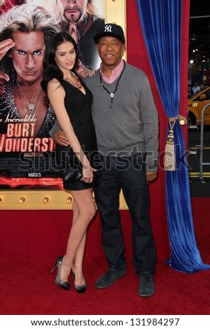 "Hana Nitsche and Russell Simmons at the World Premiere of ""The Incredible Burt Wonderstone"" Chinese Theater, Hollywood, CA 03-11-13"