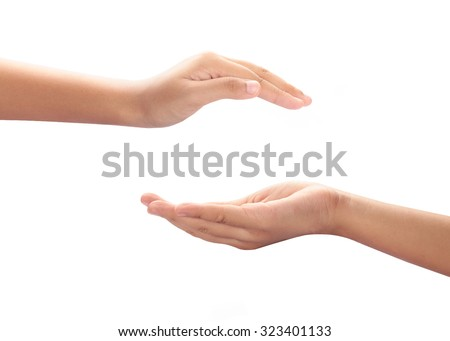 Hand acting isolated on white background with clipping path.