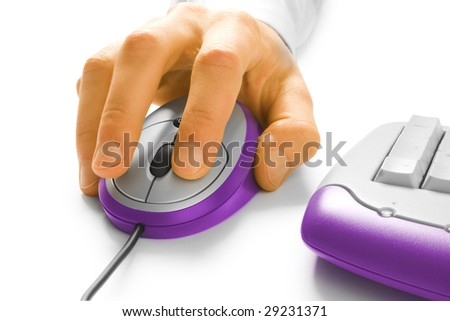 Hand and computer mouse with keyboard isolated on white