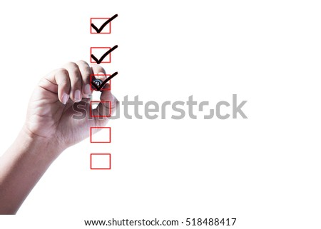 Hand Checking of the first,second and third item in check box on white background.