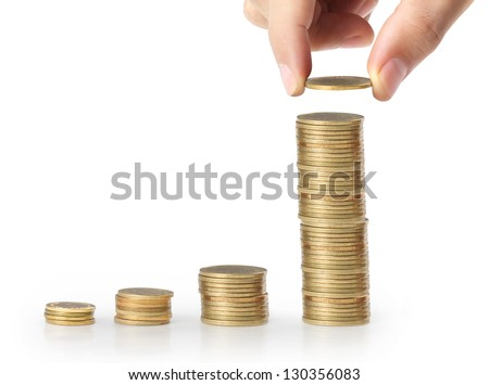 hand coins in finger and row stacks them isolated