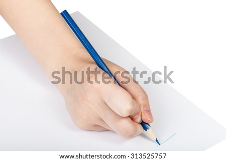 hand drafts by blue pencil on sheet of paper isolated on white background