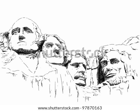 hand draw picture of Mount Rushmore