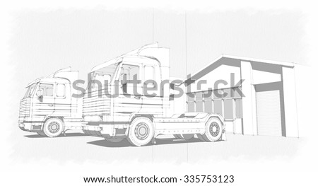 Crane truck wireframe eps10 vector stock vector 387749773 for Draw layout warehouse
