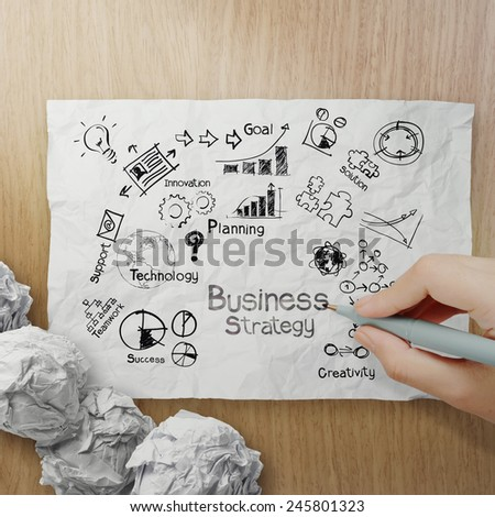 hand drawing creative business strategy on crumpled paper with wooden background as concept