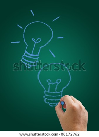 Hand drawing light bulbs on green background