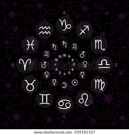 hand drawing of accurate horoscope illustration - zodiac wheel with ancient ruling planet symbols on whimsical starry background