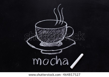 hand drawing of coffee mocha on the blackboard