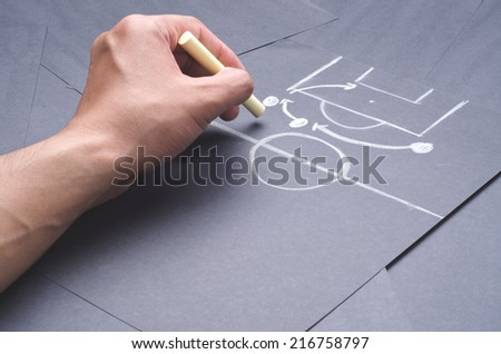 Hand drawing the attacking strategy for football game with chalk on the black project paper