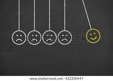 Hand Drawing Unhappy and Happy Smileys on Blackboard Background