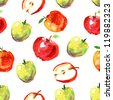 hand drawn apples watercolor pattern - stock