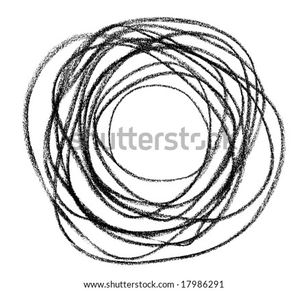 Hand-drawn black doodle circular shape, isolated on white.