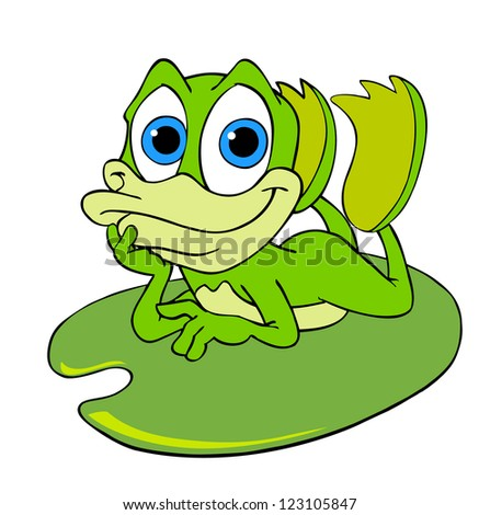 Hand drawn cartoon frog cute frog on a lily pad stock photo