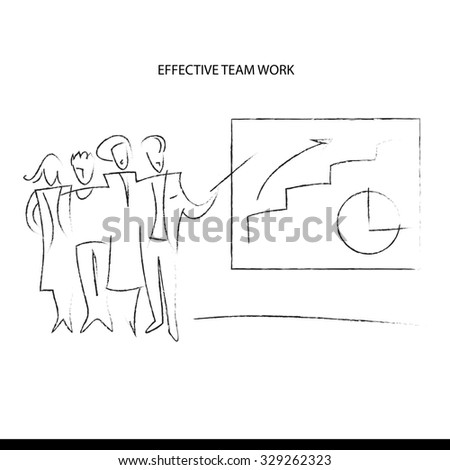 Hand-drawn design elements. The team protects development strategy. The efficiency of the team.