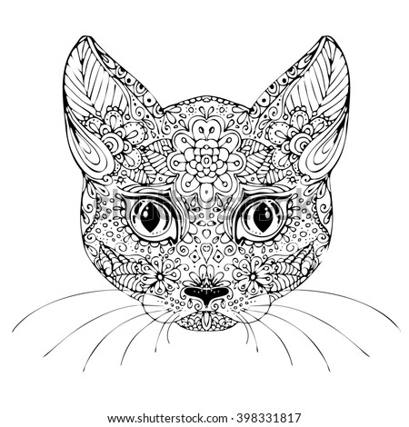 Handdrawn Cat Ethnic Floral Doodle Pattern Stock Vector