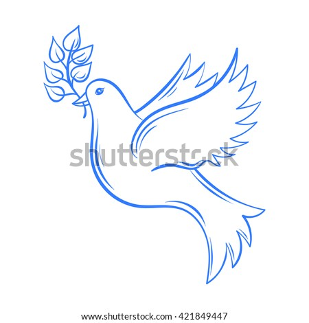 Hand drawn Dove of Peace illustration, dove with olive branch. Hand drawn artistically decorative flying dove. Postcard for international peace day. Pigeon bird.