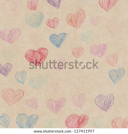 Hand drawn hearts on paper