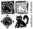 hand drawn icons, abstract doodle cat - stock