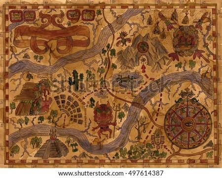Vintage Illustration Antique World Atlas Map Stock ...