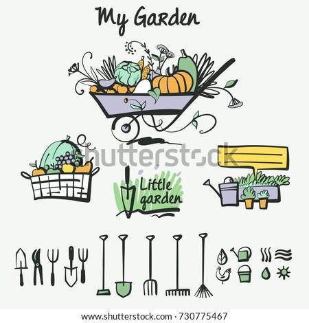 Organic Farming Wheelbarrow Tools Work Garden Stock Vector ...