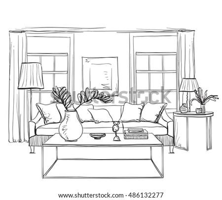 Chair Sketch room interior sketch hand drawn sofa stock vector 408953530