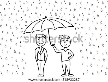 Character sketches binya in blue umbrella
