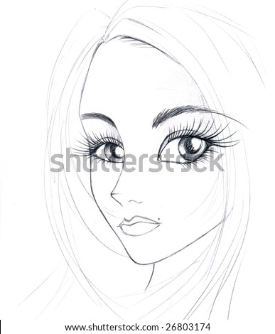 Hand drawn sketch of a girls face
