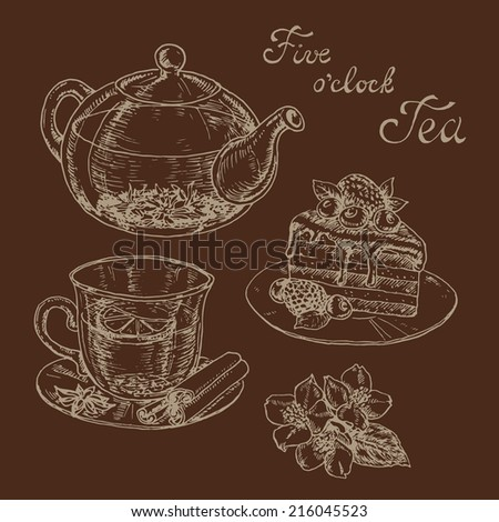 hand drawn vector elements of the tea and spices to tea