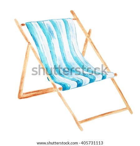 Hand drawn watercolor beach chair isolated on white background.