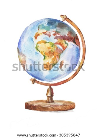 Hand-drawn watercolor globe, isolated illustration.