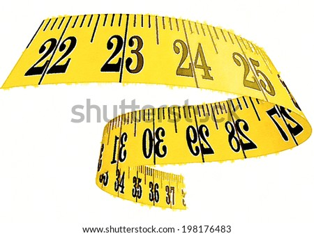 Hand drawn watercolor illustration on white background : measuring tape