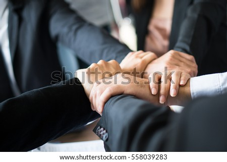 Hand group Teamwork Join Hands Partnership Third party, Business clasping hand Concept.