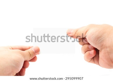 hand hold blank card