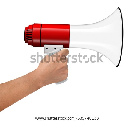 Hand Hold Megaphone isolated on white background