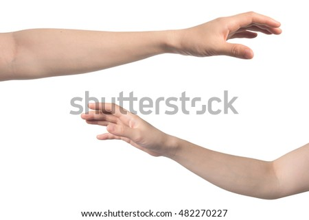 hand hold virtual catching object on isolated white background.