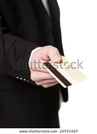 Hand holding a credit card